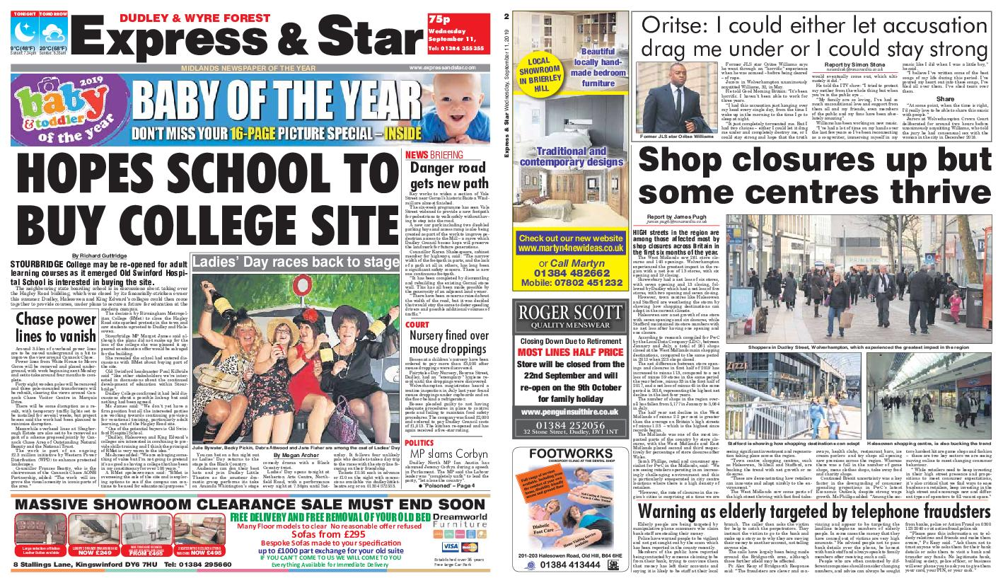 Express and Star Dudley and Wyre Forest Edition – September 11, 2019