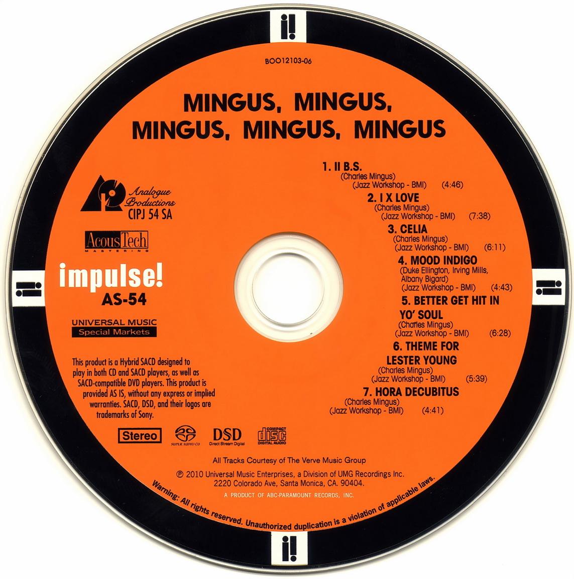 Charles Mingus - Mingus, Mingus, Mingus, Mingus, Mingus (1963) [Analogue Productions SACD Remastered 2010]
