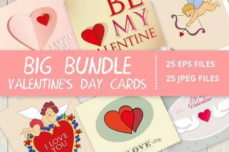 CreativeMarket - Valentine's Day Cute Cards Bundle
