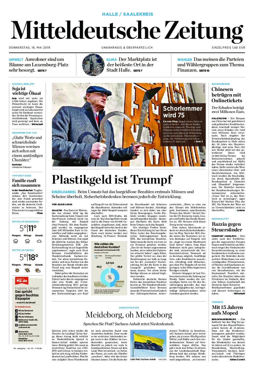 Mitteldeutsche Zeitung Naumburger Tageblatt – 16. Mai 2019