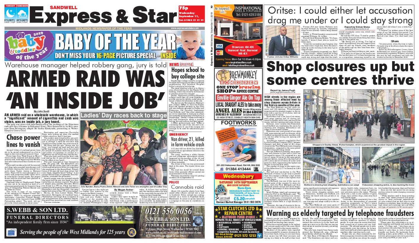 Express and Star Sandwell Edition – September 11, 2019