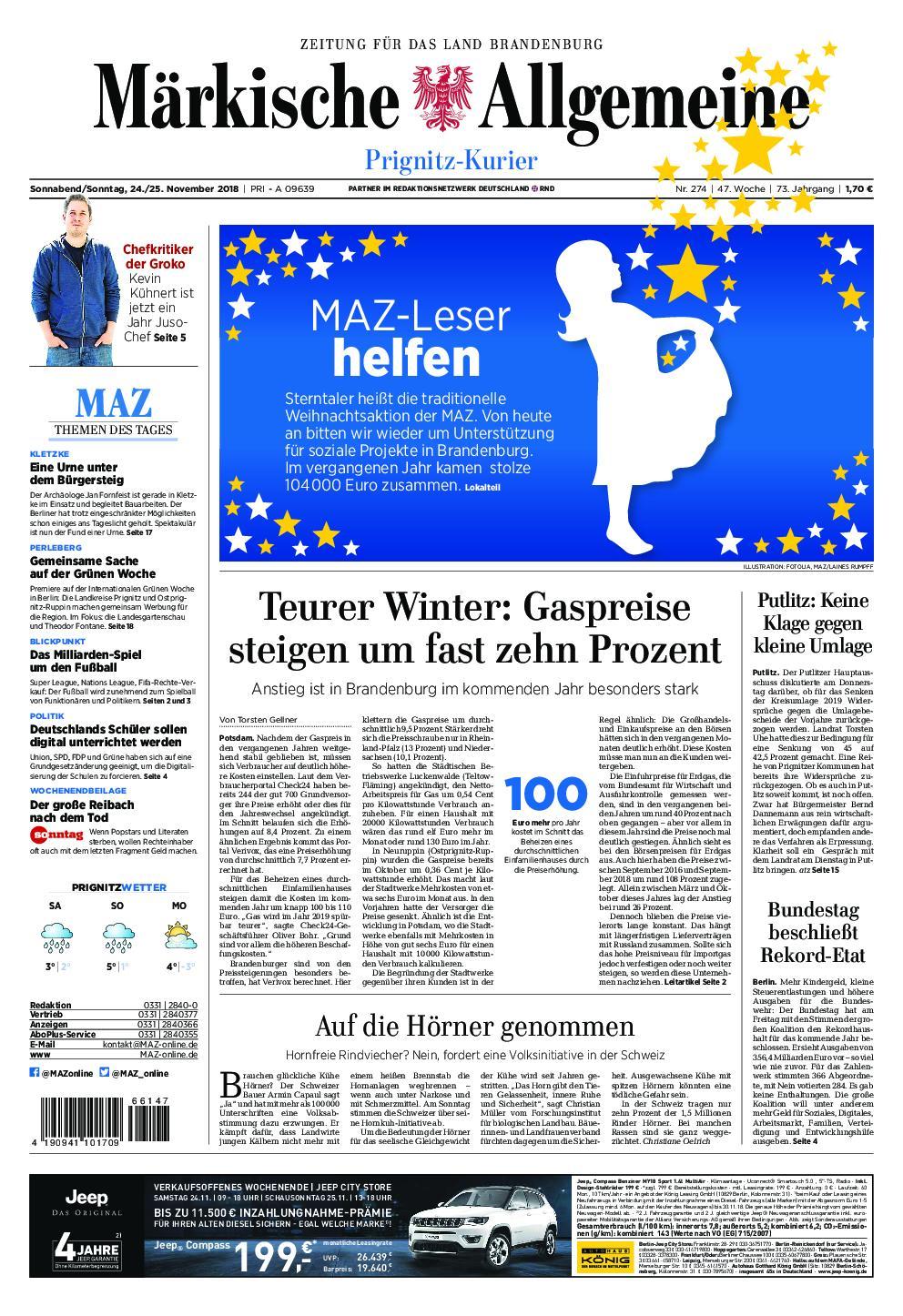 Märkische Allgemeine Prignitz Kurier - 24. November 2018