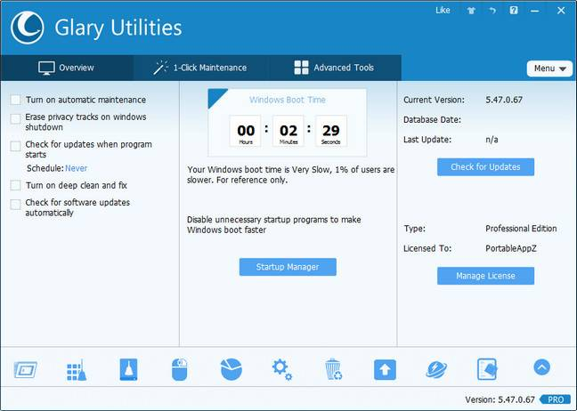 Glary Utilities Pro 5.92.0.114 DC 22.02.2018 Multilingual + Portable