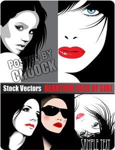Stock Vector: Beautiful face of girl 5
