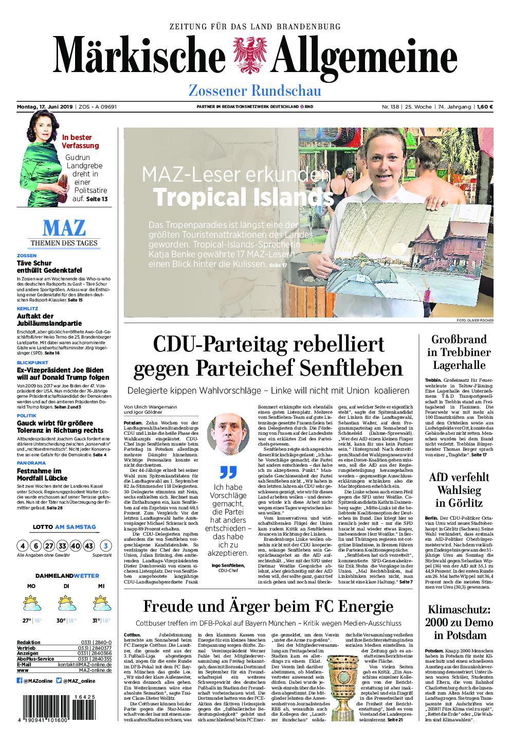 Märkische Allgemeine Zossener Rundschau - 17. Juni 2019
