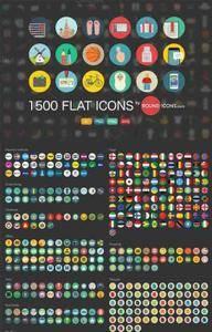 CreativeMarket - 1500 Flat Icons Ai, PSD, SVG, PNG