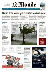 Le Monde du Mercredi 4 Septembre 2019