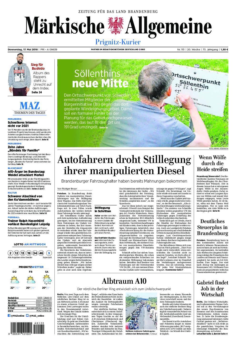 Märkische Allgemeine Prignitz Kurier - 17. Mai 2018