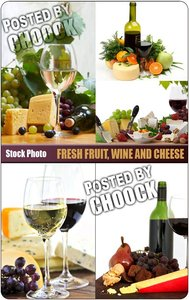 Stock Photo: Fresh fruit, wine and cheese