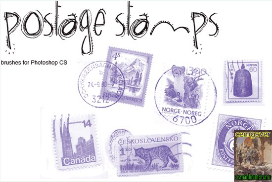 Postage Stamps Brushes