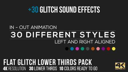 Flat Glitch Lower Thirds + 30 Glitch Sound Effects - Project for After Effects (VideoHive)
