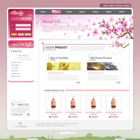 Layout web Template .psd format 2 Pink