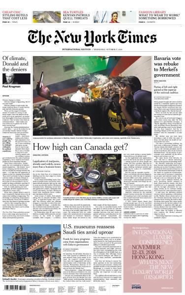 International New York Times - 17 October 2018