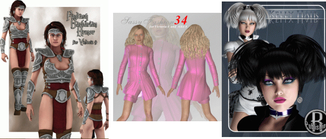 3D: V4/A4 Sassy Fashion 34 | Barbarian for Victoria 4.2 | Kelly Hair V4A4G4