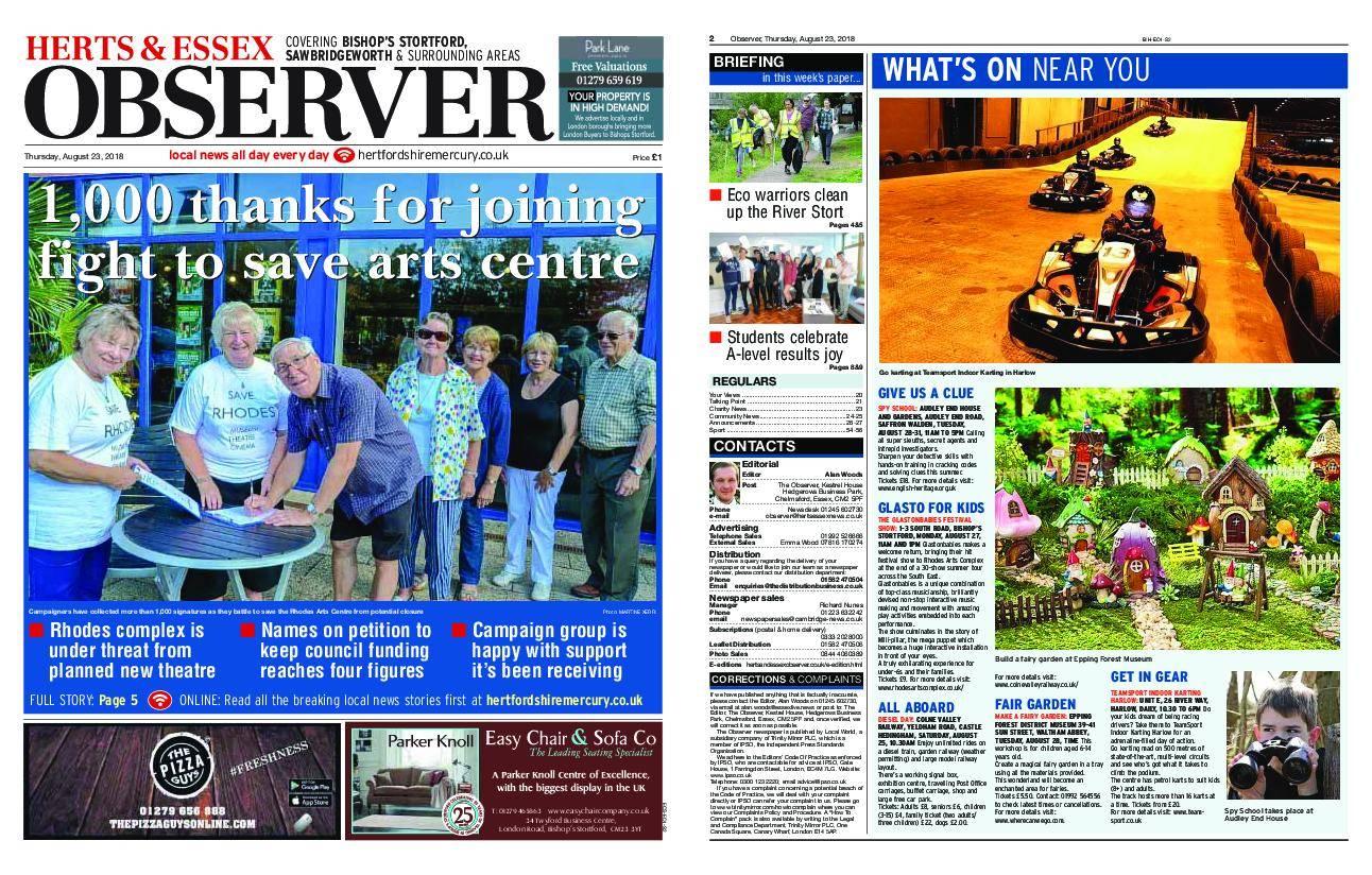 Herts & Essex Observer Bishop's Stortford – August 23, 2018