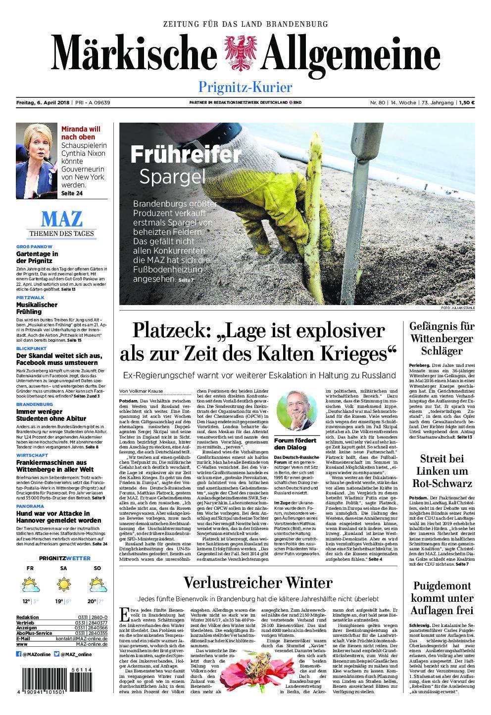 Märkische Allgemeine Prignitz Kurier - 06. April 2018