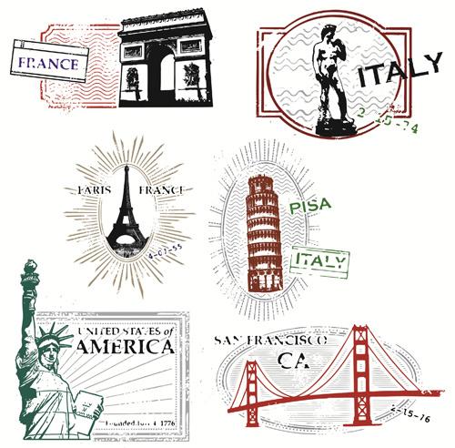 Series of Landmarks-Travel Stamps