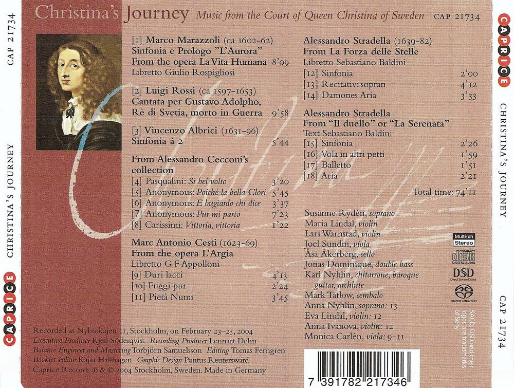 Susanne Ryden, Stockholm Baroque Ensemble - Christina's Journey: Music from the Court of Queen Christina of Sweden (2004) Re-Up