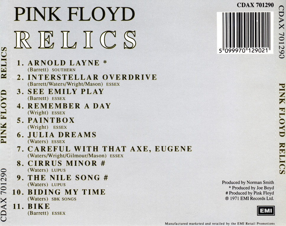 Pink Floyd - Relics (1971) {1987, Reissue}