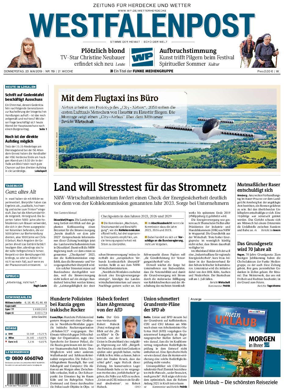 Westfalenpost Wetter - 23. Mai 2019