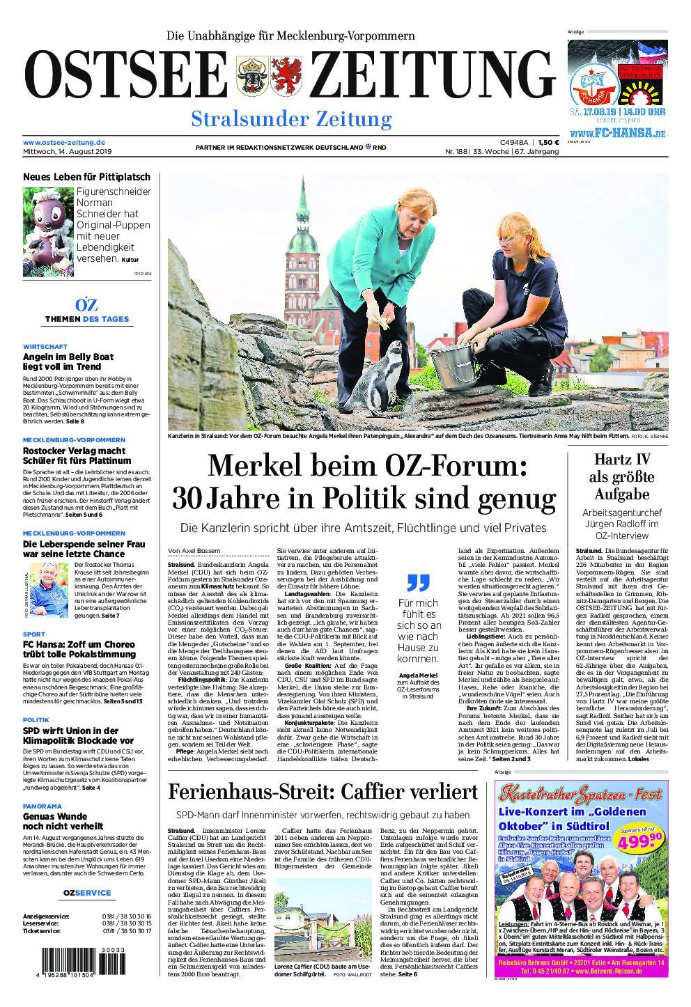 Ostsee Zeitung Stralsund - 14. August 2019