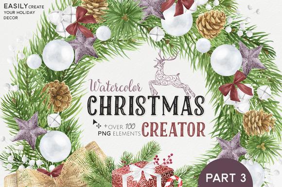 CreativeMarket - Watercolor Christmas Creator Pack #3