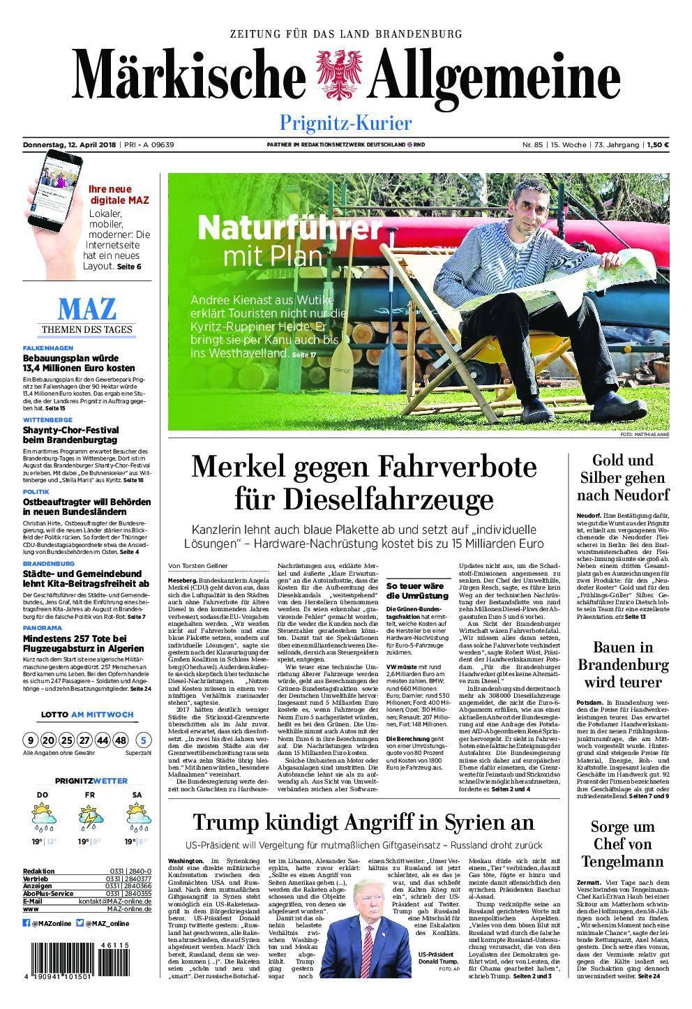 Märkische Allgemeine Prignitz Kurier - 12. April 2018