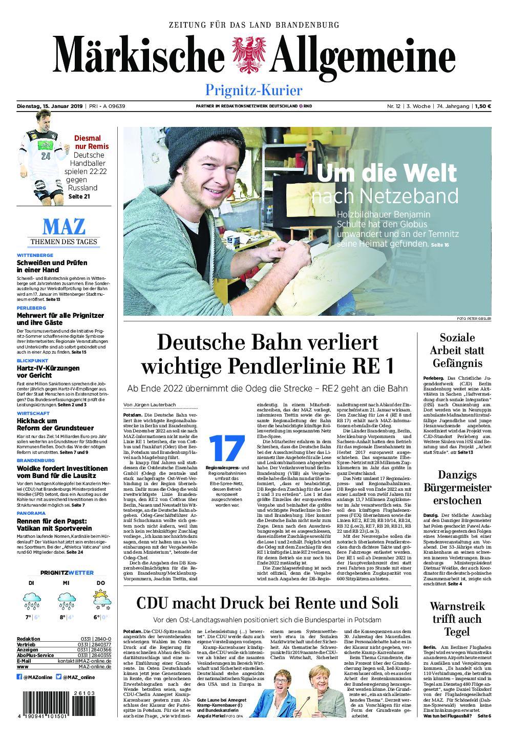 Märkische Allgemeine Prignitz Kurier - 15. Januar 2019