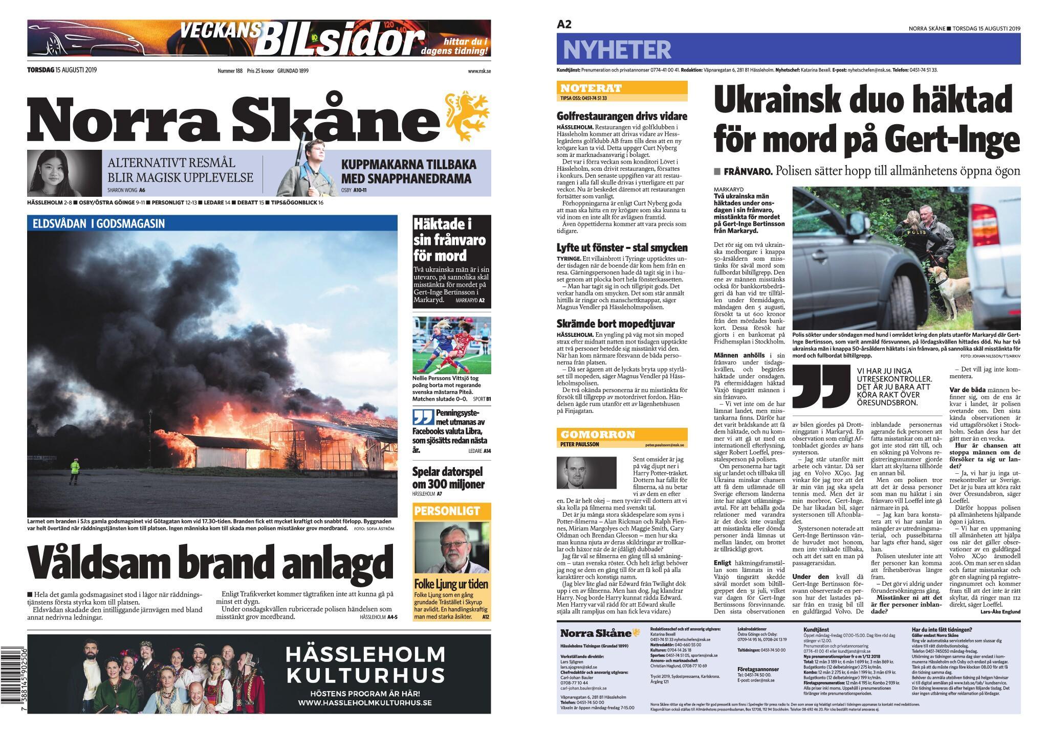 Norra Skåne – 15 augusti 2019