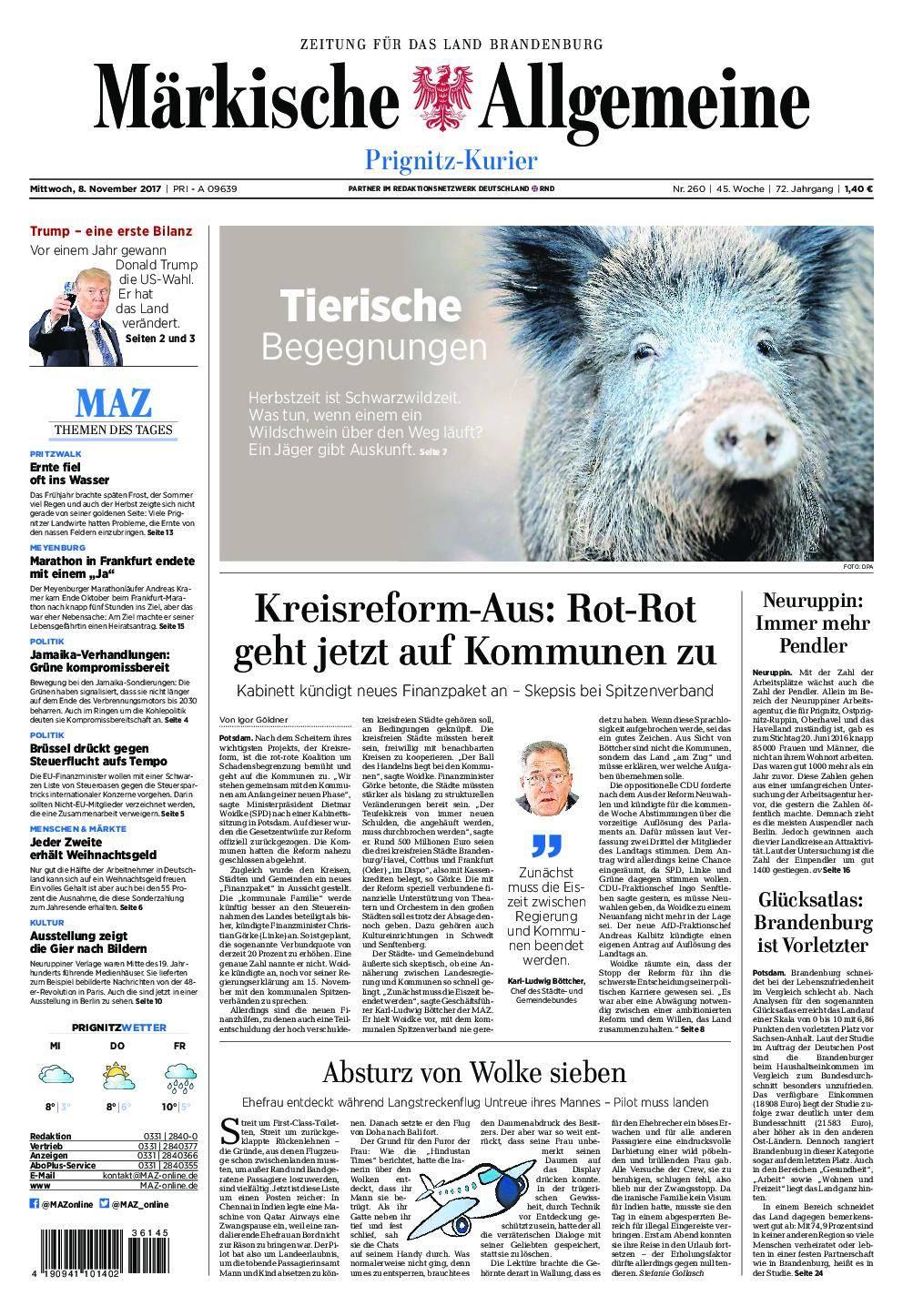 Märkische Allgemeine Prignitz Kurier - 08. November 2017