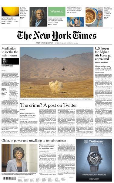 International New York Times - 12-13 January 2019