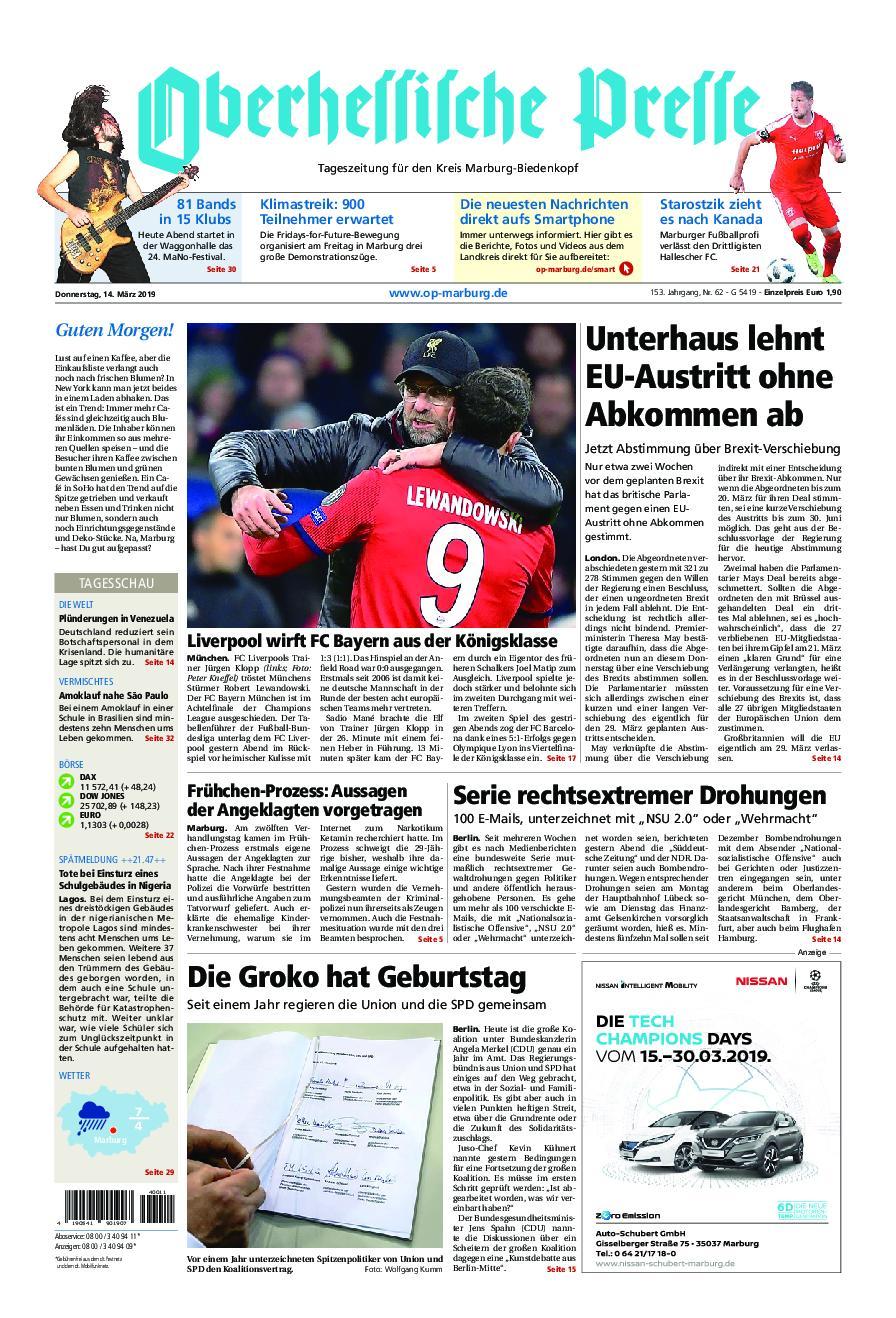 Oberhessische Presse Marburg/Ostkreis - 14. März 2019