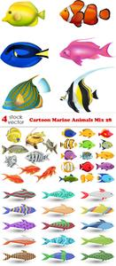 Vectors - Cartoon Marine Animals Mix 28