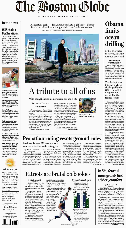 The Boston Globe  December 21 2016