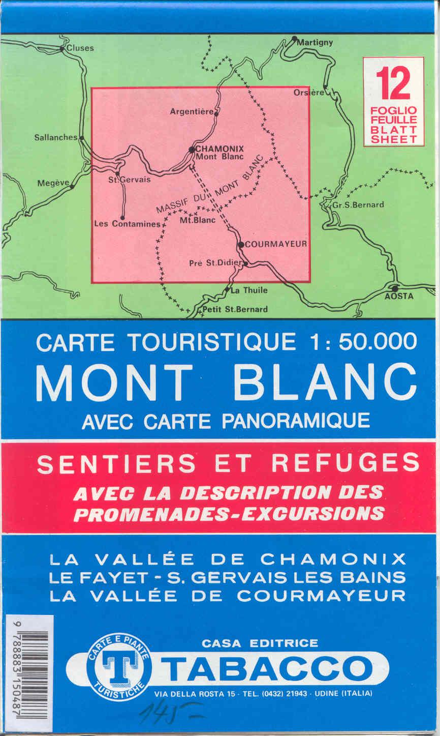 carte tourisique du Mont Blanc et des alentours