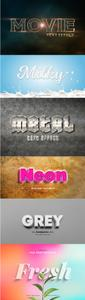 Set of Metal, Milky, Movie, Neon 3D, Gray 3d and Fresh Leaves Text Effect