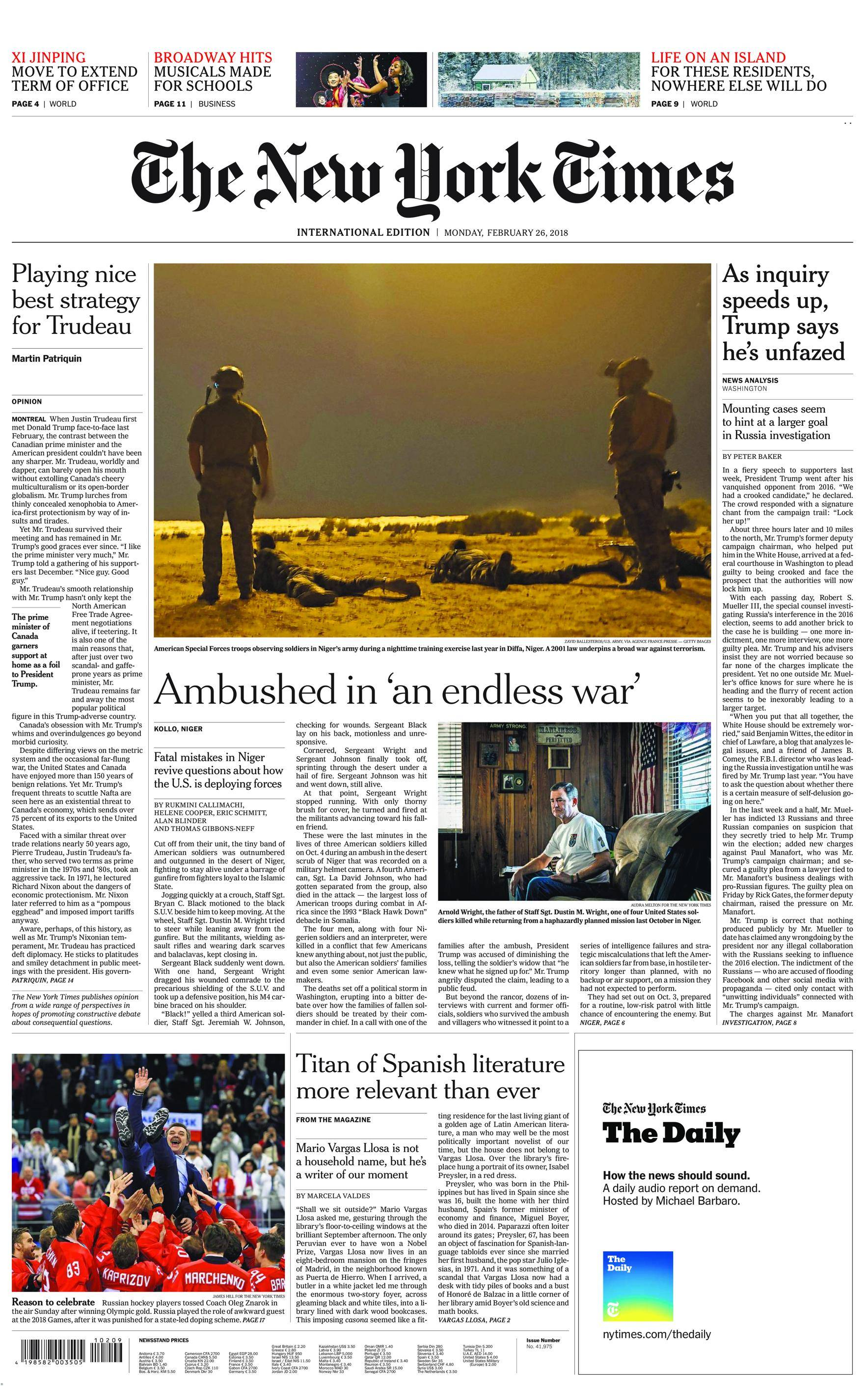 International New York Times - 26 February 2018