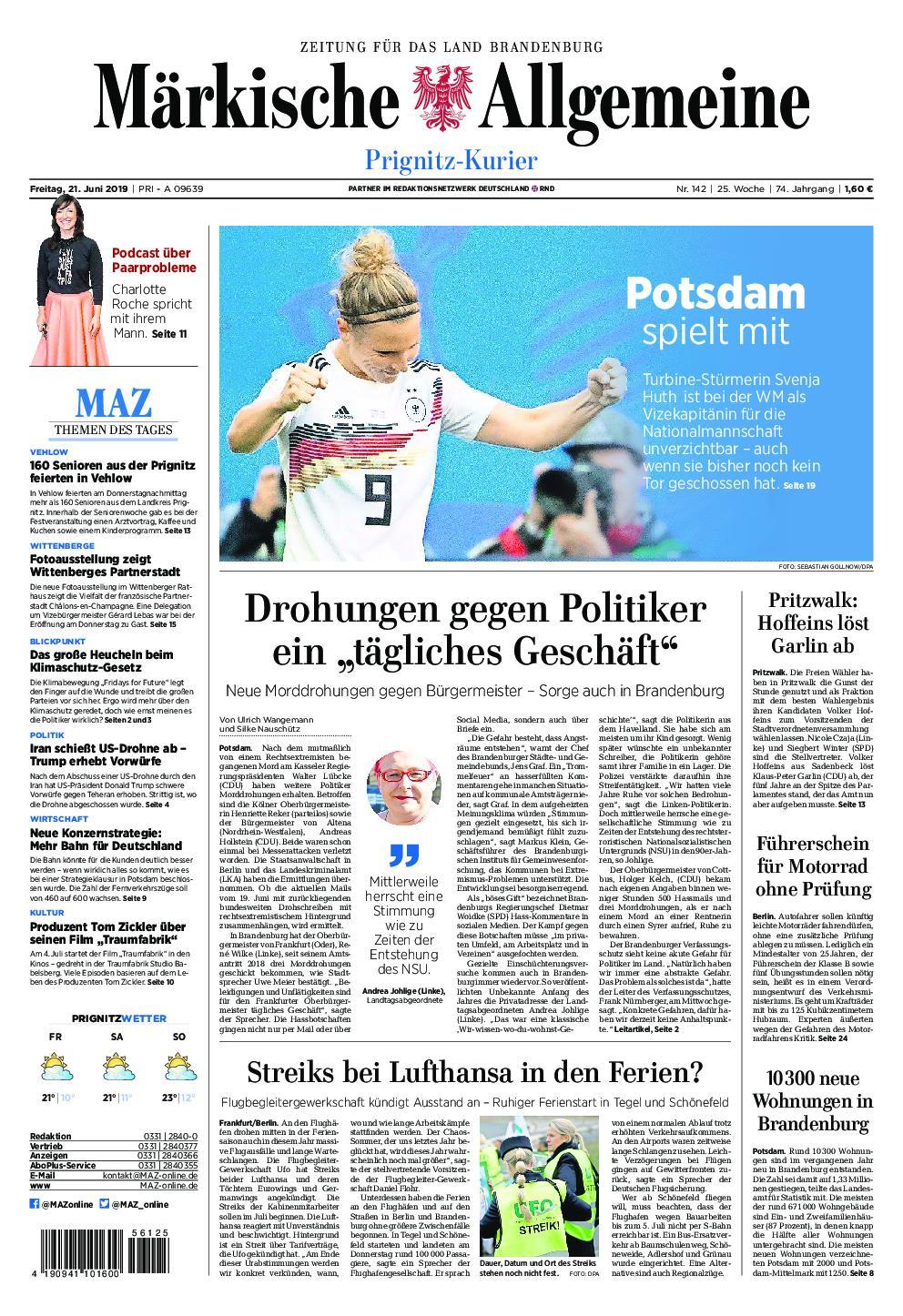 Märkische Allgemeine Prignitz Kurier - 21. Juni 2019