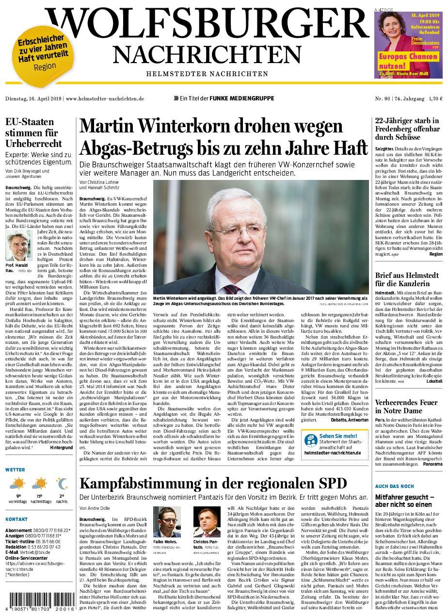 Wolfsburger Nachrichten - Helmstedter Nachrichten - 16. April 2019