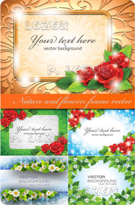 Nature and flowers frame vector