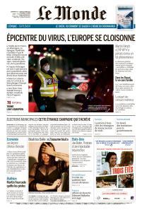 Le Monde du Dimanche 15 et Lundi 16 Mars 2020