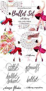 CreativeMarket - 4 ballerinas with lettering