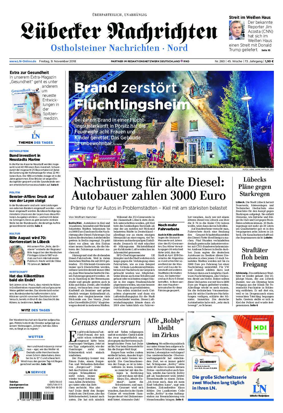 Lübecker Nachrichten Ostholstein Nord - 09. November 2018