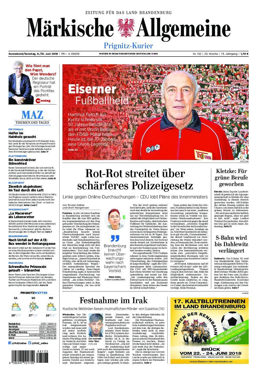 Märkische Allgemeine Prignitz Kurier - 09. Juni 2018