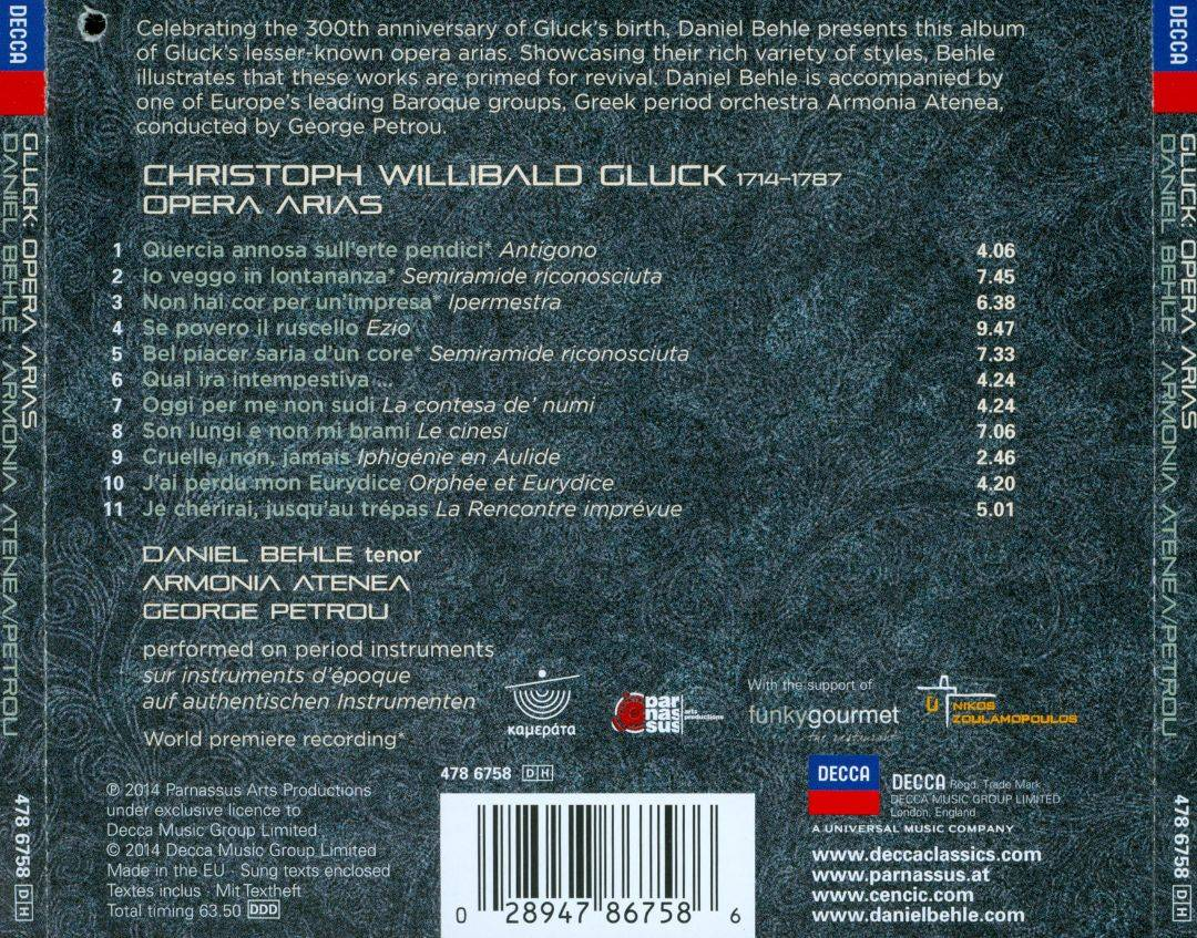 Daniel Behle, Armonia Atenea, George Petrou - Gluck: Opera Arias (2014)