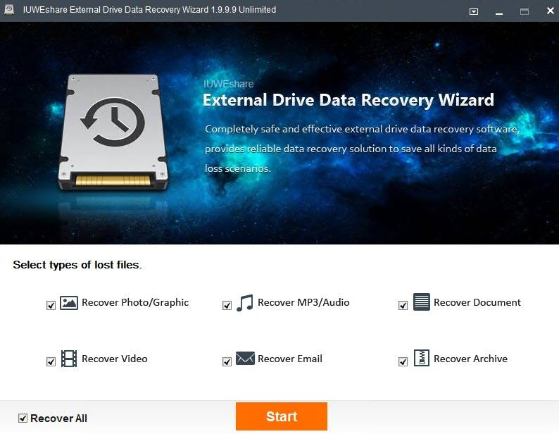 IUWEshare External Drive Data Recovery Wizard 1.9.9.9 Unlimited Portable