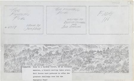 Jack Kirby - Fantastic Four Animated Cartoon Storyboard - The Frightful Four 1978