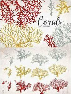 CreativeMarket - Sparkling corals, sea life clip art