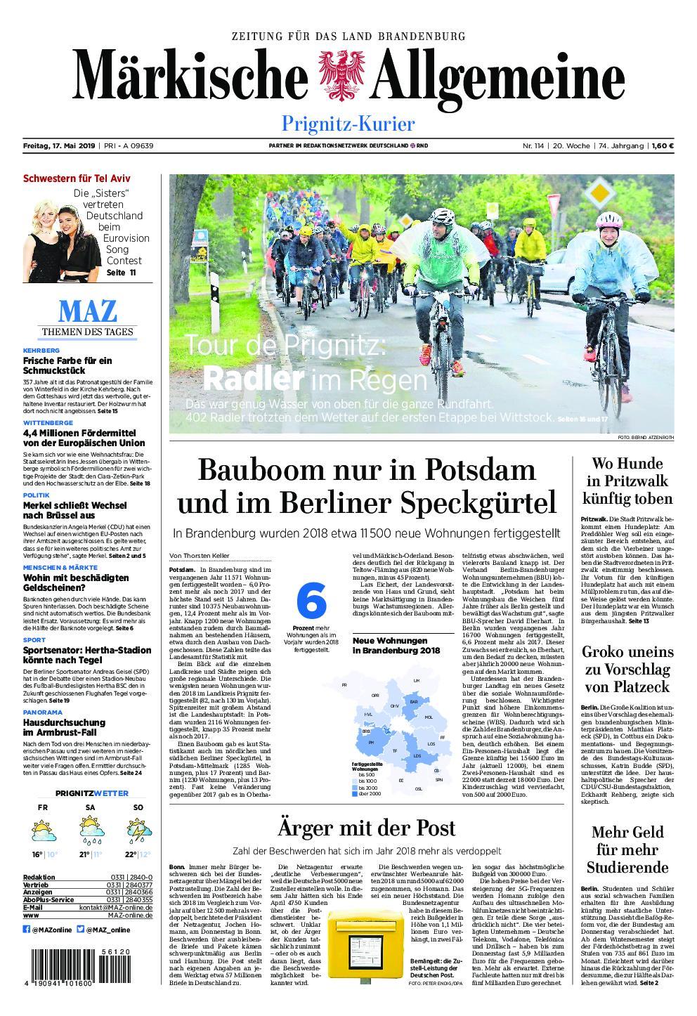 Märkische Allgemeine Prignitz Kurier - 17. Mai 2019