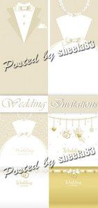 Gentle Wedding Invitations Vector